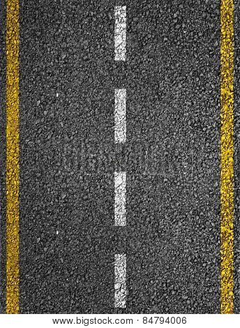 Road texture with two yellow stripes and dashed white stripe