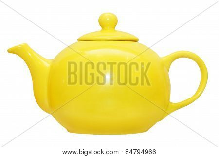 Yellow Ceramic Teapot.isolated.