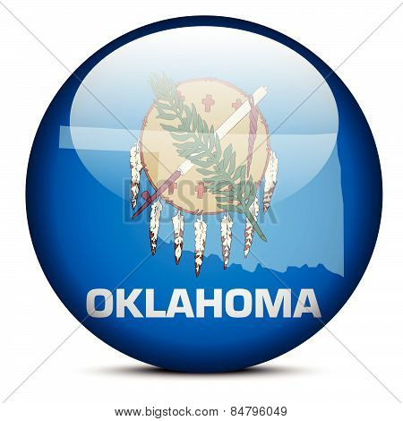 Map On Flag Button Of Usa Oklahoma State