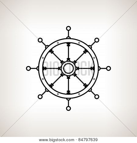 Silhouette Ship's Wheel On A Light Background