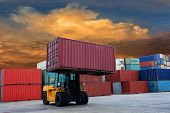 Containers at port of Laem Chabang in Thailand poster