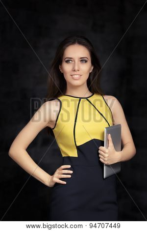 Elegant Woman Holding Pc Tablet