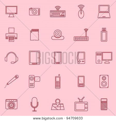 Gadget Line Icons On Pink Background