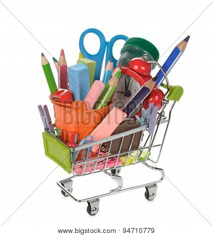 Shopping Cart Filled With Colorful School Supplies