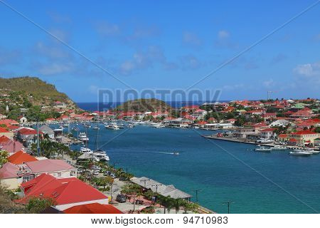 :Aerial view at Gustavia Harbor in St Barts