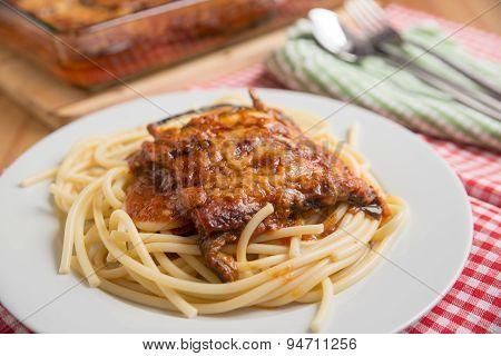 Spaghetti with Parmigiana di melanzane