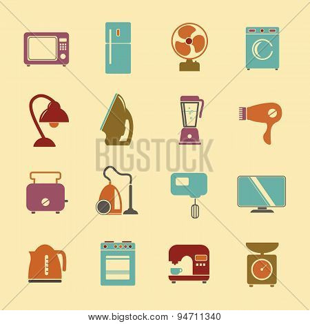 Set Of Household Appliances Flat Icons With A Washing Machine Stove Fridge Lamp Kettle Hairdryer Mix