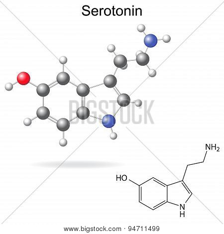 Model And Chemical Formula Of Serotonin