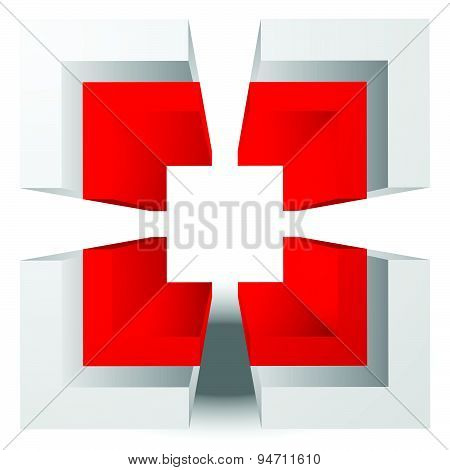 3D Crosshair, Reticle, Target Graphics. Editable Vector.