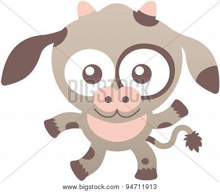 Cute calf smiling and waving enthusiastically