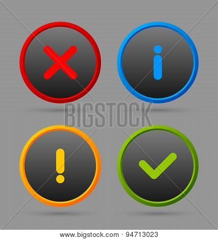 Notification icons suitable for custom web design and computer purposes poster