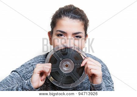 Young Woman With 8 Mm Movie Reel Film