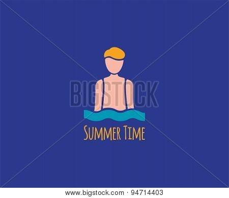 Abstract vector elements. Summer man in sea waves logo template. Stock illustration for design