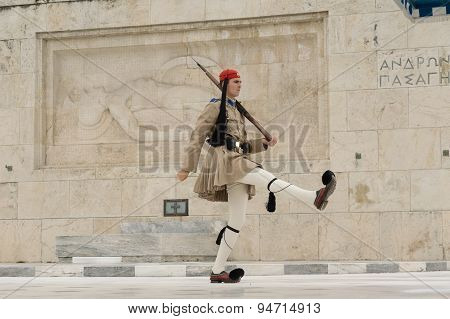 Athens, Greece, 30 May 2015. Evzone walking and guarding the parliament of Greece in Sintagma.
