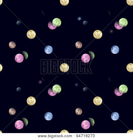 Seamless Abstract Planets Pattern On Black