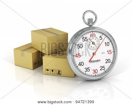 Express Delivery Concept. Cardboard Boxes With A Stopwatch Isolated On White Background.