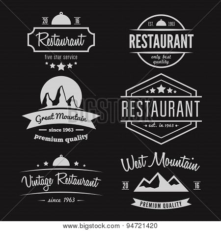 Set of different logo, label, emblem, badge and logotype elements for restaurant, cafe, cafeteria, b