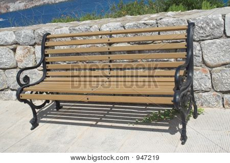 Bench Against Stone Wall