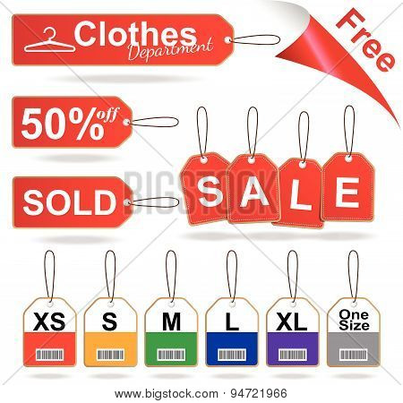 Red sale tags , size tag and stitched tag clothes set vector illustration