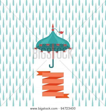 Vector Multicolor Flat Umbrella Over Rain Drops.