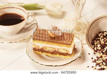 Tiramisu Cake On Beautifully Deocorated Table