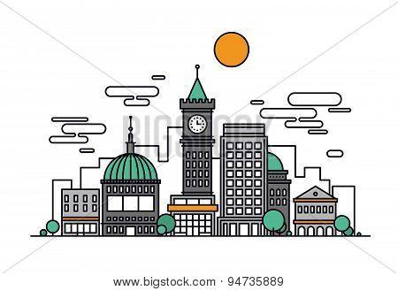 Cityscape Architecture Line Style Illustration
