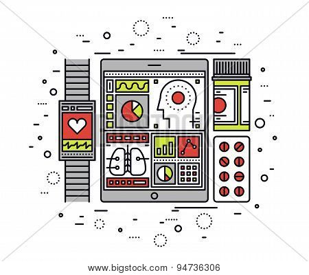Mobile Health Control Line Style Illustration
