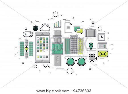 Wearable Tech Line Style Illustration