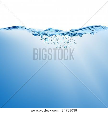 Wave with splash on the water surface with bubbles of air, isolated on the white background.