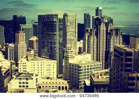Downtown San Fransisco with dark Instagram filter