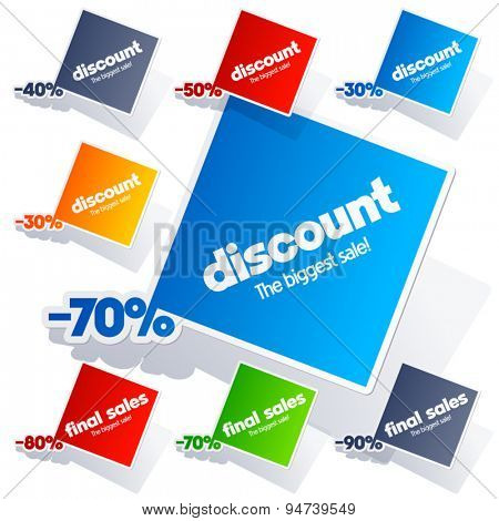 Set of vector colorful sticker labels for sales and final discount