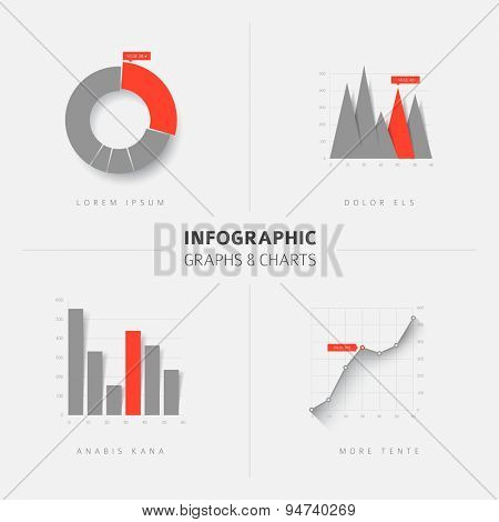 Collection of vector flat design infographics statistics charts and graphs - gray and red version