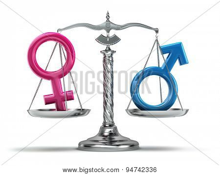 Gender equality concept. Male and female signs on the scales isolated on white. 3d