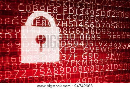 Security System Network for Online Web Protection in Red background