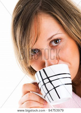Woman In Housecoat With Coffee
