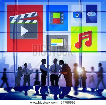 Media Internet Multimedia Sharing Networking Social Concept poster