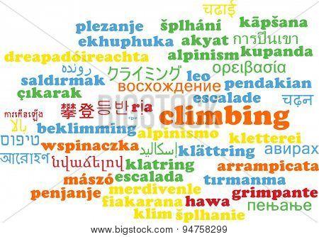 Background concept wordcloud multilanguage international many language illustration of climbing