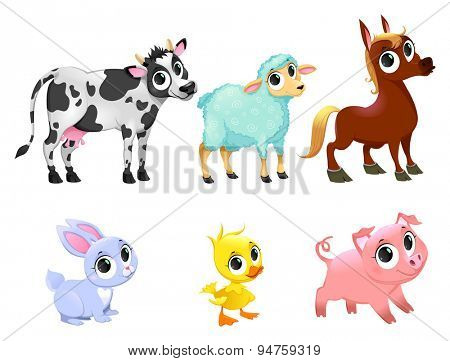 Funny farm animals. Vector cartoon isolated characters.