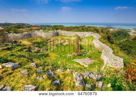 Okinawa, Japan at Nakagusuku Catle ruins.