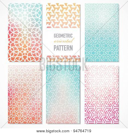 Set of six colorful banners with oriental geometric patterns in a modern concept. Vector background.