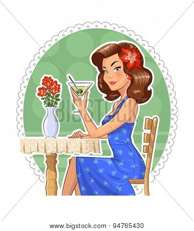 Beautiful girl with glass of martini. Eps10 vector illustration. Isolated on white background