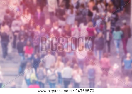 General Public Opinion Blur Background, Aerial View Of Crowd