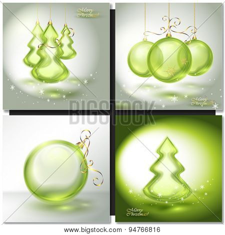 Abstract holiday background with sparkles, green Christmas ball and fir tree