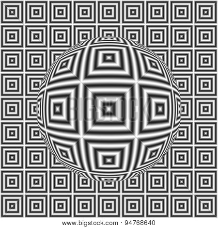 Black And White Optical Illusion Square Pattern With 3D Sphere