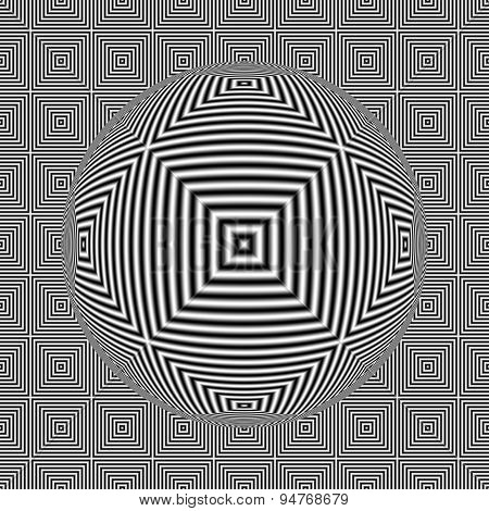 Black And White Optical Illusion Square Seamless Pattern With 3D Sphere