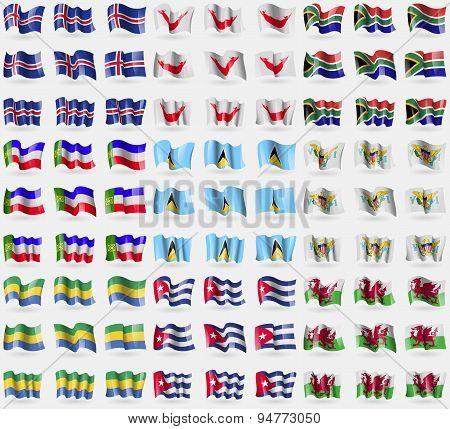 Iceland, Easter Rapa Nui, South Africa, Khakassia, Saint Lucia, Virginislandsus, Gabon, Cuba, Wales.