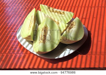 yellow melon slices in cubist style