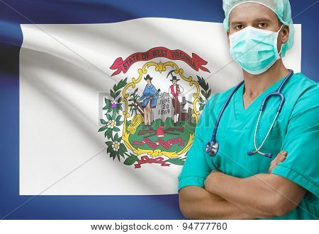 Surgeon With Us States Flags On Background Series - West Virginia