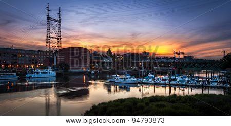 Marina And Train Bridge At Sunset