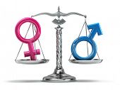 Gender equality concept. Male and female signs on the scales isolated on white. 3d poster